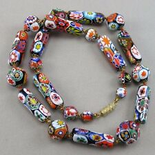 VTG Fabulous 1950's Venetian Murano Millefiori Large Focals Glass Beads Necklace