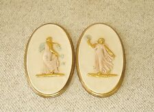 Vintage Turner Wall Accessory Oval Pink Greek Fiqures Plaques  A820  Set of 2