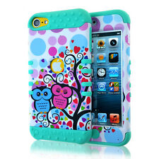 For iPod Touch 5th & 6th Gen - Hybrid Armor Case Cover Blue Pink Love Tree Owls