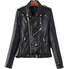 Women Fashion Zipper Long Sleeve PU Moto Biker Jacket Short Leather Coat Outwear