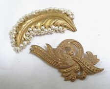 Lot of 2 Pair SIGNED Vintage MIRIAM HASKELL Brooches/Pins Faux Baroque Pearls