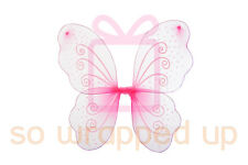 Girls Ladies PINK BUTTERFLY ANGEL FAIRY WINGS fancy dress dressing up party
