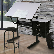 Tiltable Computer Desk Student Study Drawing Table Drawers Stool Home Office