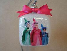 "Handmade Disney Sleeping Beauty Fairy Godmothers 3"" Square Glass Ornament, NEW!"