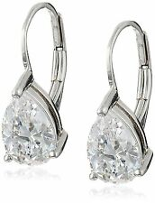 Platinum-Plated Sterling Silver and Cubic Zirconia Earrings (2 cttw)