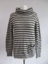 Beautiful Jigsaw Navy & Cream Stripe Mohair Wool Blend Funnel Neck Jumper, XS