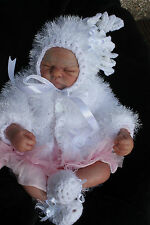 hand knitted baby girl white  fur jacket  bonnet  booties    set newborn  0/3m
