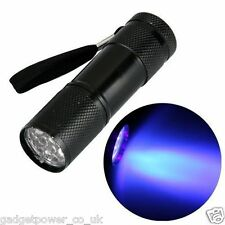 MINI POCKET UV TORCH 9 LED ULTRAVIOLET BLACK LIGHT – 3 X AAA CELLS INCLUDED