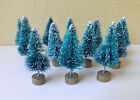 "Set of 12 Mini 1.5"" Sisal Bottle Brush CHRISTMAS TREES ~ Snow Frost Village Putz"