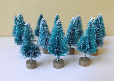 "Set of 12 Mini 1.5"" Sisal Bottle Brush CHRISTMAS TREES ~ Snow Frost Village Putz"
