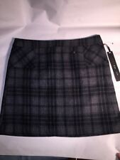 NWT authentic WILLI SMITH size 8 Gray/Black PLAID wool mini skirt
