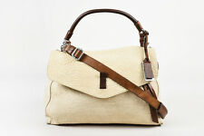 Gryson Beige Brown Textured Leather SHW Front Flap Messenger Bag