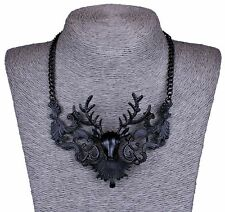 steampunk gothic punk rave new restyle rock deer stag antler statement necklace