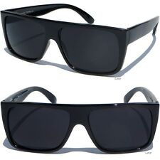 FLAT TOP DARK LENS SUNGLASSES BLACK FRAME AVIATOR RETRO Super Dark New