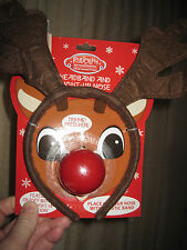 Rudoph the Red Nosed Reindeer headband and light up nose  NEW  (F1)