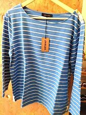 JAEGER Marine Striped Top Size L  / LX Coulor Light Blue 95% Cotton  5% Elasten