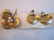 VTG 12K GOLD FILLED WINARD EARRINGS & PIN/BROOCH SET - WITH PEARLS - BBA-5