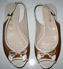 SIZE 39 GEOX RESPIRA 2 TONE BEIGE LEATHER SANDALS LADIES SHOES