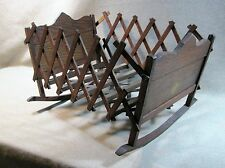 Cradle Primitive Antique Toy Expanding Folding Doll Furniture Late 1800`s