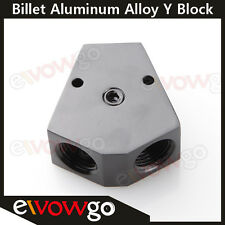 """1/2'' In 3/8'' Out Female Y-Block Fitting With 1/8"""" NPT Gauge Port Black"""