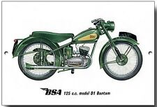 BSA 125CC MODEL D1 BANTAM METAL SIGN.VINTAGE BRITISH BSA MOTORCYCLES.