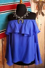 COWGIRL GYPSY ROYAL off shoulder BOHO PEASANT blouse Top Western Bell Sleeve S