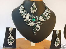 WOW Its Beautiful Sonam's Style AD SILVER PLATED PARTYWEAR NECKLACE SET JEWELRY