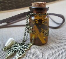 Big Keepsake Brown Bottle Long Leather Cord Necklace Cork Lid Butterfly Charm