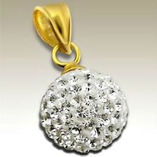 Sterling Silver 18K Gold Plated Clear Crystal Ball Pendant 10mm + 925 Gold Chain