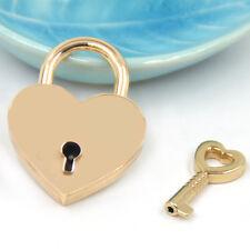 1X Mini Gold Tone Metal Heart Shape Padlock Luggage Luggage Bags Lock With Key
