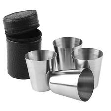 1set 4pcs Stainless Steel Cups Cover Mug Drinking Coffee Beer Camping Travel Sup