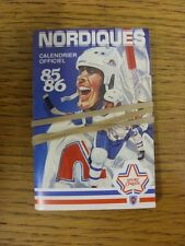 1985/1986 Fixture Card: Ice Hockey - Nordiques Quebec (fold out style). Any faul
