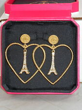 Juicy Couture Goldtone EIFFEL TOWER Heart Hoop Earrings WJW468 710 $78