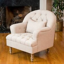 Contemporary Beige Tufted Fabric Arm Chair w/ Matching Throw Pillow