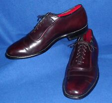 10 C VINTAGE JOHNSTON MURPHY USA BURGUNDY GUNBOAT SMOOTH OXFORD J&M MENS SHOES