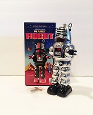 BRAND NEW HA HA TOY WIND UP CHROME MECHANICAL SPARKING PLANET TIN ROBOT MINT