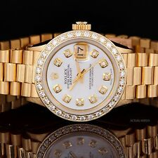 Rolex Yellow Gold Ladies President with Mother of Pearl Diamond Dial & Bezel