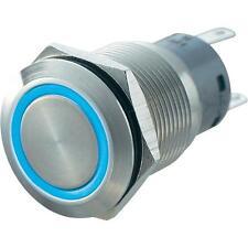 PULSANTE RING LED BLU D= 19mm /12V  CONTATTO 250V 5A
