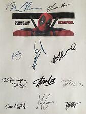 Deadpool Signed Script X11 Ryan Reynolds Brianna Hildebrand Morena Baccarin rpnt