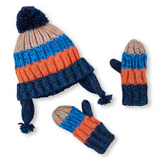 Children's Place Toddler Boys Striped Knit Pom Hat & Mitten Set - 12 to 24 mo