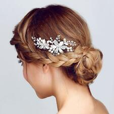 Handmade Pearl Crystal Wedding Flower Headdress Hair Accessories Hair Piece Comb