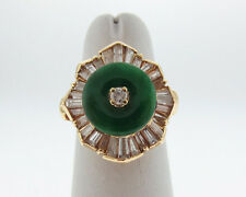 Vintage Estate Green Jade PI BI Diamonds Solid 14k Yellow Gold Cocktail Ring