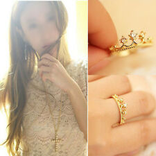 1PC Gold Plated Crystal Rhinestone Crown Ring Finger Summer Gift Fashion Jewelry