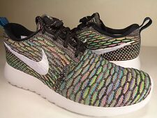 Womens Nike Rosherun Flyknit Multi Color Black White Pink Blue SZ 5 (704927-001)