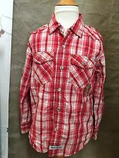ENGLISH LAUNDRY Red Plaid WESTERN Shirt PEARL CROWN BUTTONS Rascals Hooligans 7