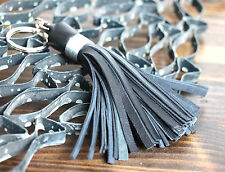 "HANDMADE MURKA BLACK LEATHER SINGLE 4""TASSEL FRINGE KEY PURSE BAG CHARM FOB RING"