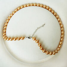 8mm Gold Akoya Cultured Shell Pearl Necklace 18 '' AAA 010-