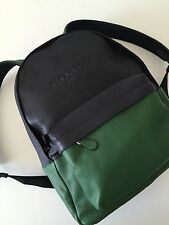 Coach Men's Green / Midnight Leather Campus Backpack 72159 Travel Bag NWT