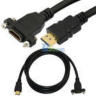 Premium 1.5m 5Ft HDMI A male to female panel mount extension Gold plated Cable