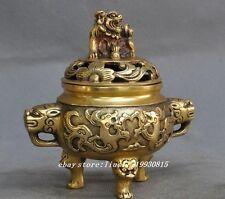 """5"""" chine fengshui brass dragon beast foo dog lion statue Incense Burner Censer"""